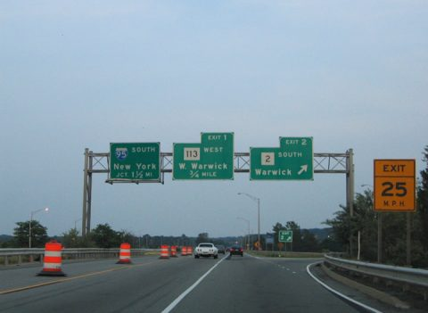 I-295 south at RI 2/113 - Warwick