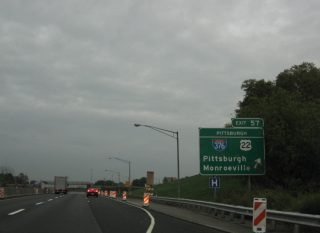 I-76/PA Tpk east at I-376/US 22 - Monroeville