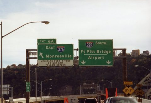 I-279 south at I-376/Ft Pitt Bridge - 2001