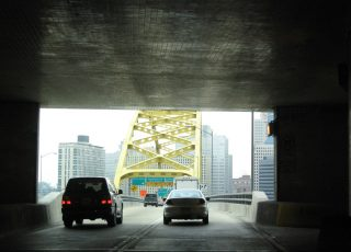 I-376 east at Fort Pitt Bridge