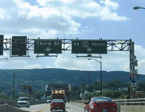 PA 378 south at Hill to Hill Bridge - Bethlehem