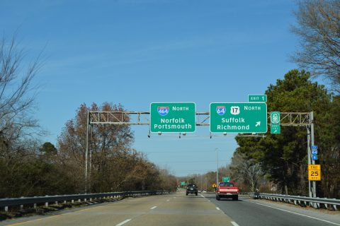 I-464/US 17 north at I-64 - Chesapeake, VA