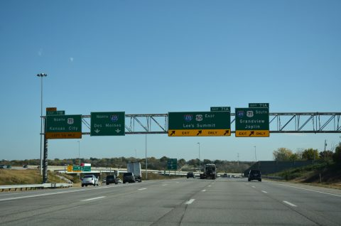 I-435/US 50 east at I-49/470/US 71
