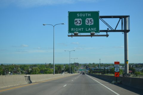 I-535/US 53 south at Wis 35 - Superior