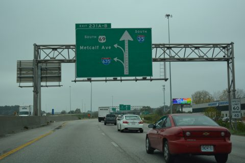 I-35/US 69 south at I-635 - Mission, KS