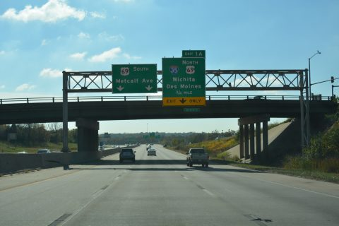 I-635 south at I-35/US 69 - Kansas City, KS