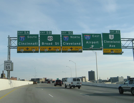 I-670 east at I-71 - Columbus, OH
