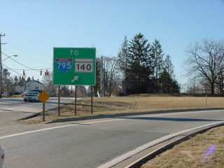 MD 30 south at MD 128/795 - Reistertown